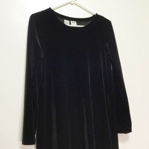 Dkny Dresses - DKNY Petite Black Long Sleeve Velvet Dress